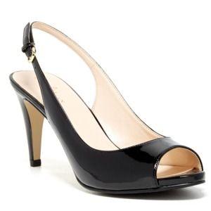 Cole Haan Margot Patent Leather Peep Toe Heels 9.5